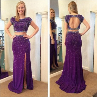 Stunning Two Piece Beadings Front Split Prom Dress 2020 Short Sleeve Sweep Train_3