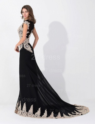 Sexy Black Lace Appliques Evening Dress Sweep Train_2