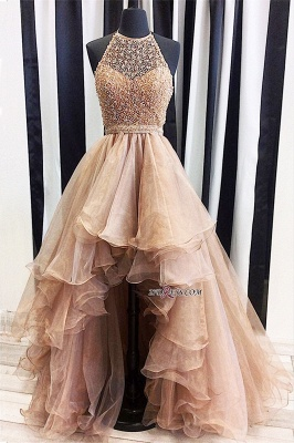 A-Line Halter Beading Low Prom Brilliant Dresses Tulle High Evening Dresses_3