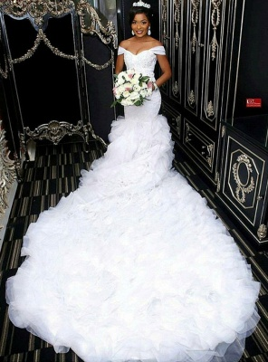 Gorgeous Off-the-Shoulder Lace Wedding Dress | 2020 Mermaid Ruffles Bridal Gowns BC0845_2