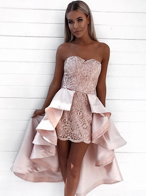 Modern Sweetheart Lace Hi-Lo Homecoming Dress | 2020 Detachable Skirt Party Dress_3