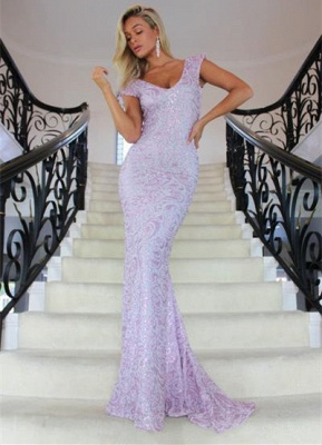 Charming V-Neck Cap Sleeves 2020 Prom Dress | Long Mermaid Lace Evening Gowns On Sale_1