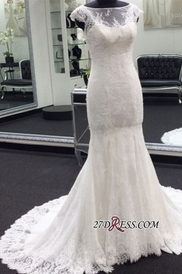 Full-back Mermaid Beading Lace Cap-sleeve Bateau Wedding Dress_1