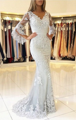 Delicate Lace Long Sleeve Mermaid Evening Dress | 2020 Mermaid Prom Gown_3