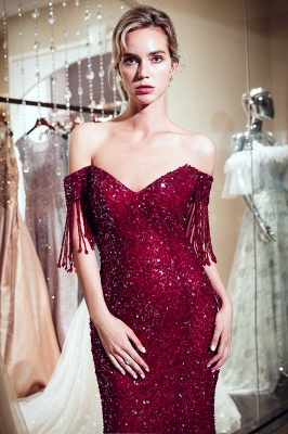 Vintage Burgundy Mermaid Evening Gowns | 2020 Sequins Long Prom Dress With Tassels_5