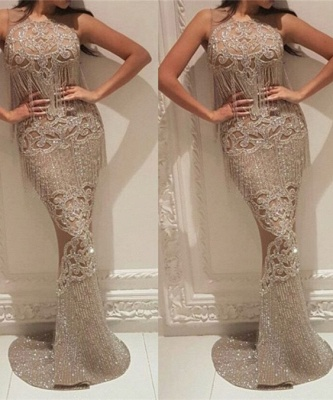 Gorgeous Crew Sleeveless Sequins Evening Dress | Mermaid Floor Length Prom Gowns With Tassels On Sale_7