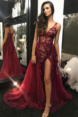 Burgundy Straps Detachable Beading A-Line Prom Dress | Sexy V-Neck Lace Tulle Side-Slit Evening Gown_4