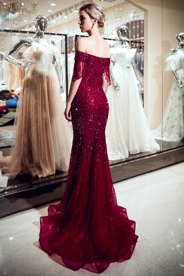 Vintage Burgundy Mermaid Evening Gowns | 2020 Sequins Long Prom Dress With Tassels_2