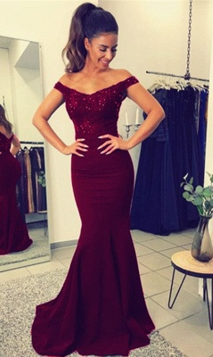 Lace Beadings Elegant Off-the-Shoulder Mermaid Long Evening Dress_1