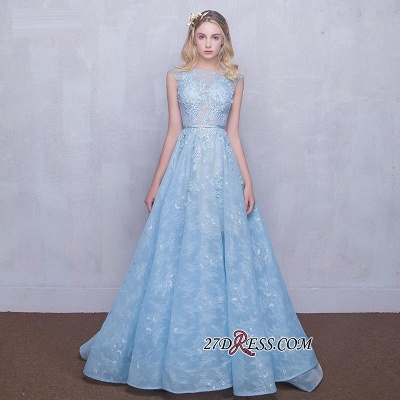Fairy Sky-Blue Puffy Long Sheer A-line Lace-Appliques Prom Dresses_2