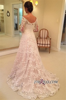 Off-the-Shoulder Long-Sleeves Appliques A-Line Buttons Lace Wedding Dresses_2