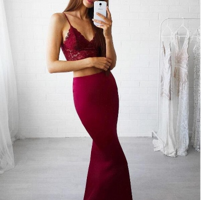 Gorgeous Red Lace Two Pieces Mermaid V-Neck 2020 Prom Dress_3