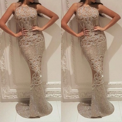 Gorgeous Crew Sleeveless Sequins Evening Dress | Mermaid Floor Length Prom Gowns With Tassels On Sale_3