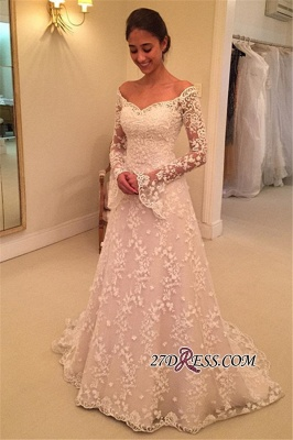 Off-the-Shoulder Long-Sleeves Appliques A-Line Buttons Lace Wedding Dresses_4