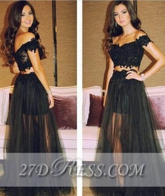 Separated Black Lace Prom Gowns Off-the-Shoulder A-Line Tulle Evening Dresses_1