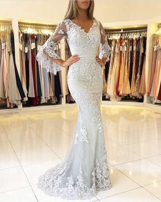 Delicate Lace Long Sleeve Mermaid Evening Dress | 2020 Mermaid Prom Gown_1
