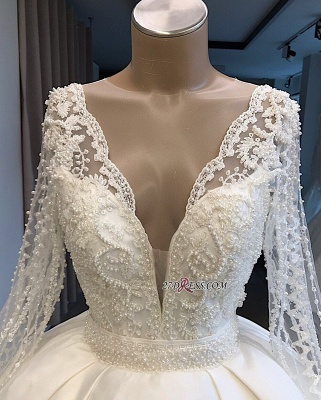 V-neck Long-Sleeves Ball-Gown Amazing Appliques Wedding Dresses_2