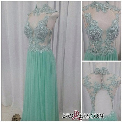 A-line Lace Floor-length High-neck Pearls Chic Evening Dress_2