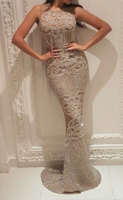 Gorgeous Crew Sleeveless Sequins Evening Dress | Mermaid Floor Length Prom Gowns With Tassels On Sale_2