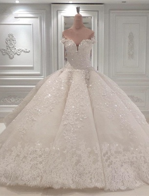 Glamorous Sweetheart Off-the-Shoulder Wedding Dress   Lace Applique 2020 Bridal Gown Online_3