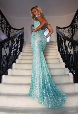 Sexy Cap Sleeves V-Neck Evening Gowns On Sale   Long Mermaid Lace Prom Dress BC2965_2