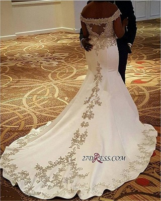 2020 Mermaid Satin Lace Court-Train Sexy Off-the-Shoulder Wedding Dresses BA4235_1