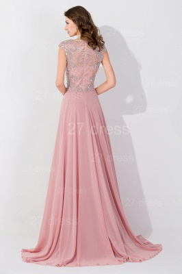 Glamorous Beangs Cap Sleeveless Chiffon Evening Dress Sweep Train Zipper_4