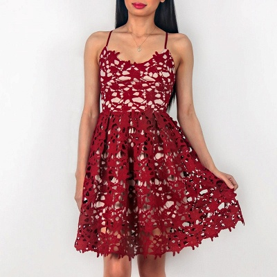 Cute Red Lace Spaghetti Strap Homecoming Dress | Sleeveless Short Party Gown_3