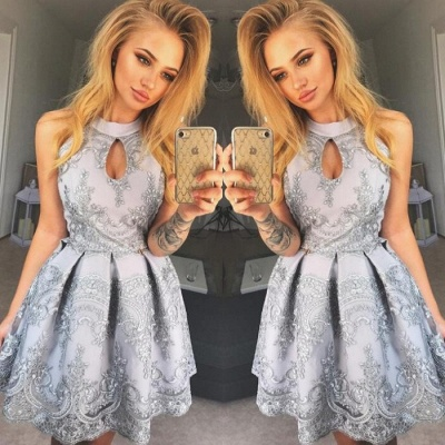 Halter Keyhole 2020 Homecoming Dress | 2020 Short Lace Party Dress_4
