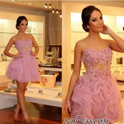 Gorgeous Sweetheart Short Prom Dresses | 2020 Homecoming Dress With Flowers_3