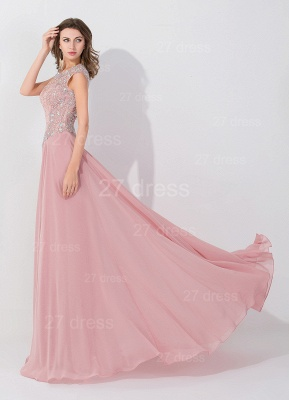Glamorous Beangs Cap Sleeveless Chiffon Evening Dress Sweep Train Zipper_3