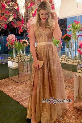 A-line Gold Sweetheart Formal Sequin Sash Spaghetti-strap Side-slit Evening Dress