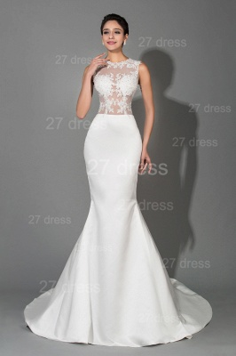 Newest Lace Appliques Mermaid Evening Dress Sweep Train_1