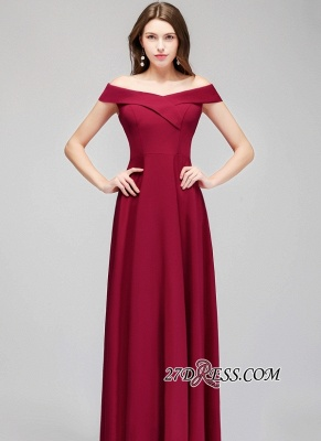 A-line Long Off-the-Shoulder Burgundy Evening Gowns_5