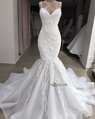 Sweetheart Sleeveless Spaghetti-Straps Appliques Excellent Mermaid Wedding Dresses_1