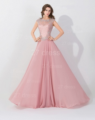 Glamorous Beangs Cap Sleeveless Chiffon Evening Dress Sweep Train Zipper_1