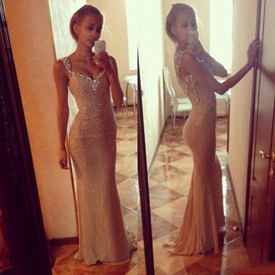 Sequins Sexy Mermaid Prom Dress with Crystals Straps_4