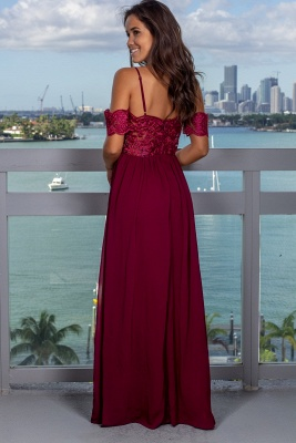 Gorgeous Spaghetti Strap Off-the-Shoulder 2020 Evening Gowns | Long Lace Appliques Prom Dress With Split_4