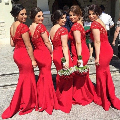 Modern V-neck Red Mermaid Bridesmaid Dress With Lace Appliques_2