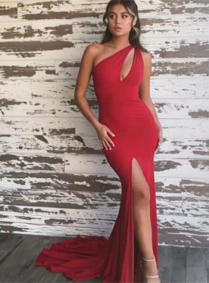 Stunning Red One Shoulder Prom Dresses | 2020 Mermaid Evening Gowns With Slit_5