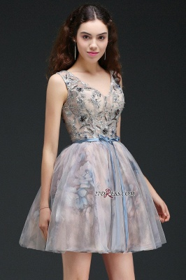 Belt Cute Lace-up Sleeveless Straps Short Flowers Homecoming Dress_6