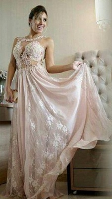 2020 Pearl Scoop Lace Floor-length Pink A-line Evening Gown_2