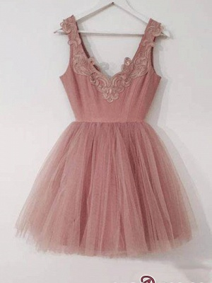 Cute Lace-Appliques Short Tulle Pink A-line Homecoming Dresses_4