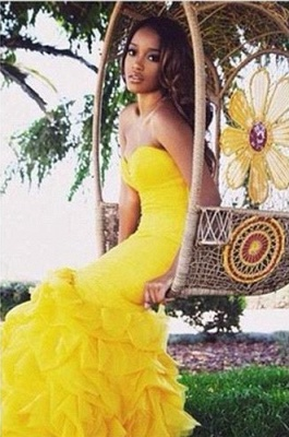 Gorgeous Sweetheart Yellow 2020 Prom Dresses Mermaid With Train BK0_4