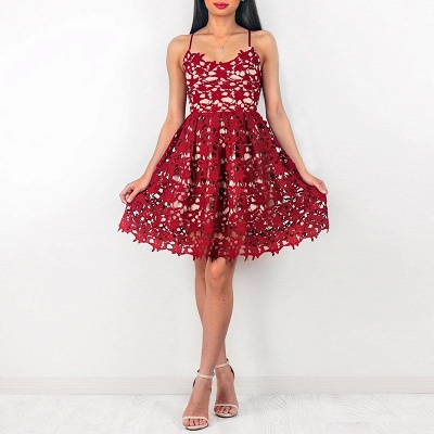 Cute Red Lace Spaghetti Strap Homecoming Dress | Sleeveless Short Party Gown_4