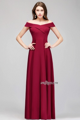 A-line Long Off-the-Shoulder Burgundy Evening Gowns_4