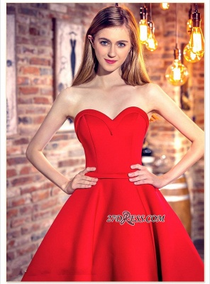 Cocktail-Dresses Sweetheart-Neck Red Short Hi-Lo Chic Party Dresses_3
