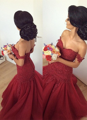 Gorgeous Off-the-Shoulder Burgundy 2020 Prom Dress Long Mermaid Lace Party Gowns BA7580_1