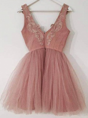 Cute Lace-Appliques Short Tulle Pink A-line Homecoming Dresses_3