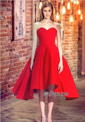 Cocktail-Dresses Sweetheart-Neck Red Short Hi-Lo Chic Party Dresses_5